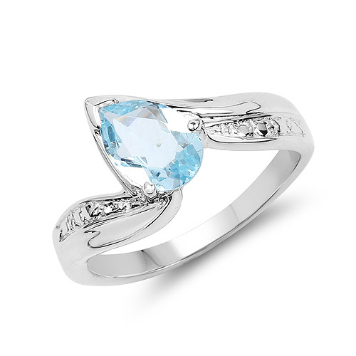 Rings-1.30 Carat Genuine Blue Topaz .925 Sterling Silver Ring